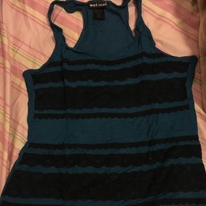 Blue with lace tank top from Wetseal Shop